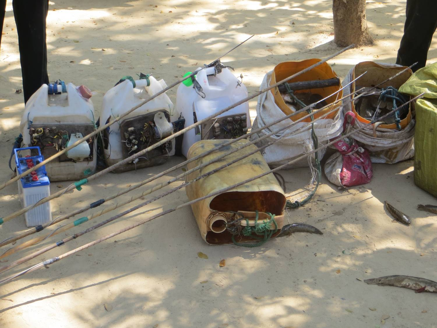 Confiscated illegal fishing equipment